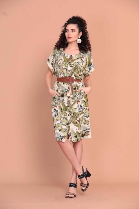 Платье Твой Имидж 1366 зеленый, молочный