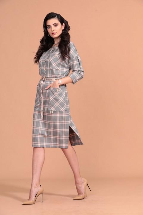 Платье Твой Имидж 1410 серый + пудровый