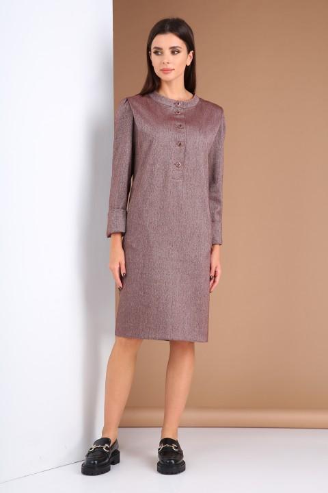 Платье Viola Style 0983 бордовый меланж