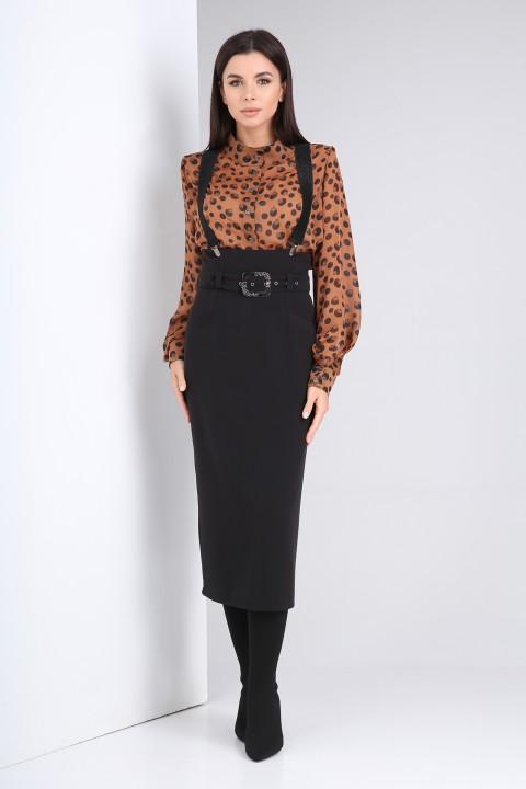 Костюм Viola Style 2675 коричневый - черный