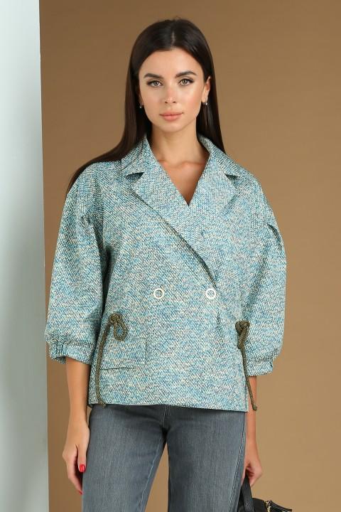 Куртка Viola Style 6036 голубой с желтым принт