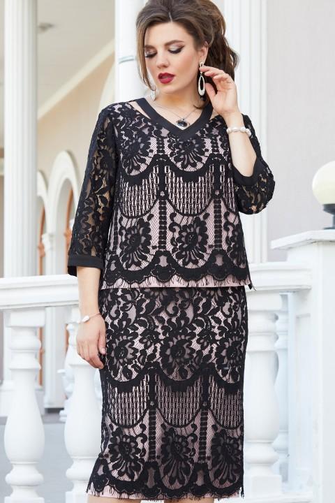 Платье Vittoria Queen 13763 черный/розовый