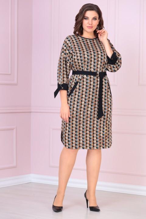 Платье VOLNA 1212 коричневый-кэмел, черный