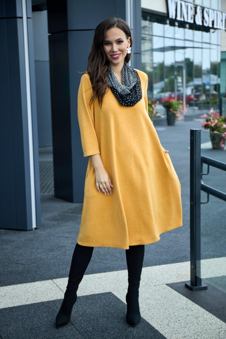 Платье Anastasia 495 горчица + шарфик