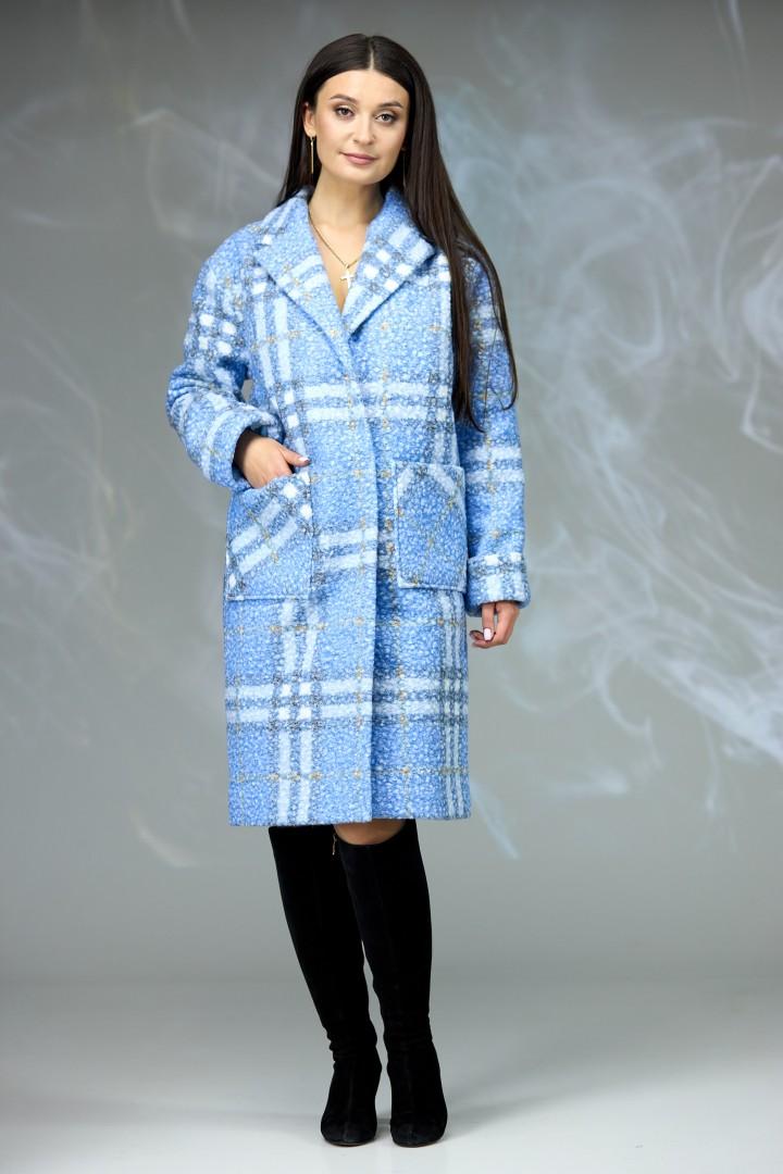 Пальто Angelina & Company 603г голубая клетка