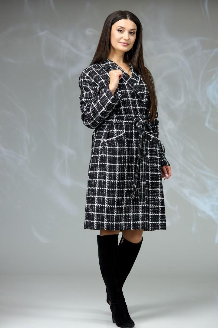 Пальто Angelina & Company 607 черно-белая шанель
