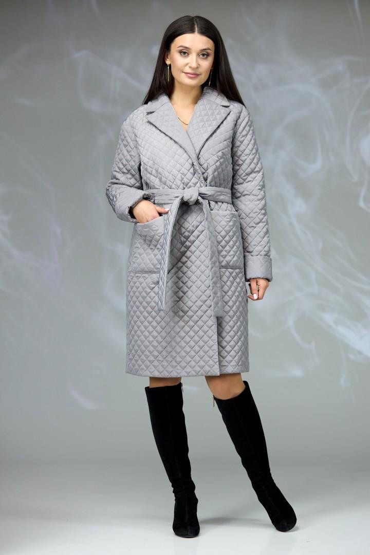 Пальто Angelina & Company 608s серая стеганка