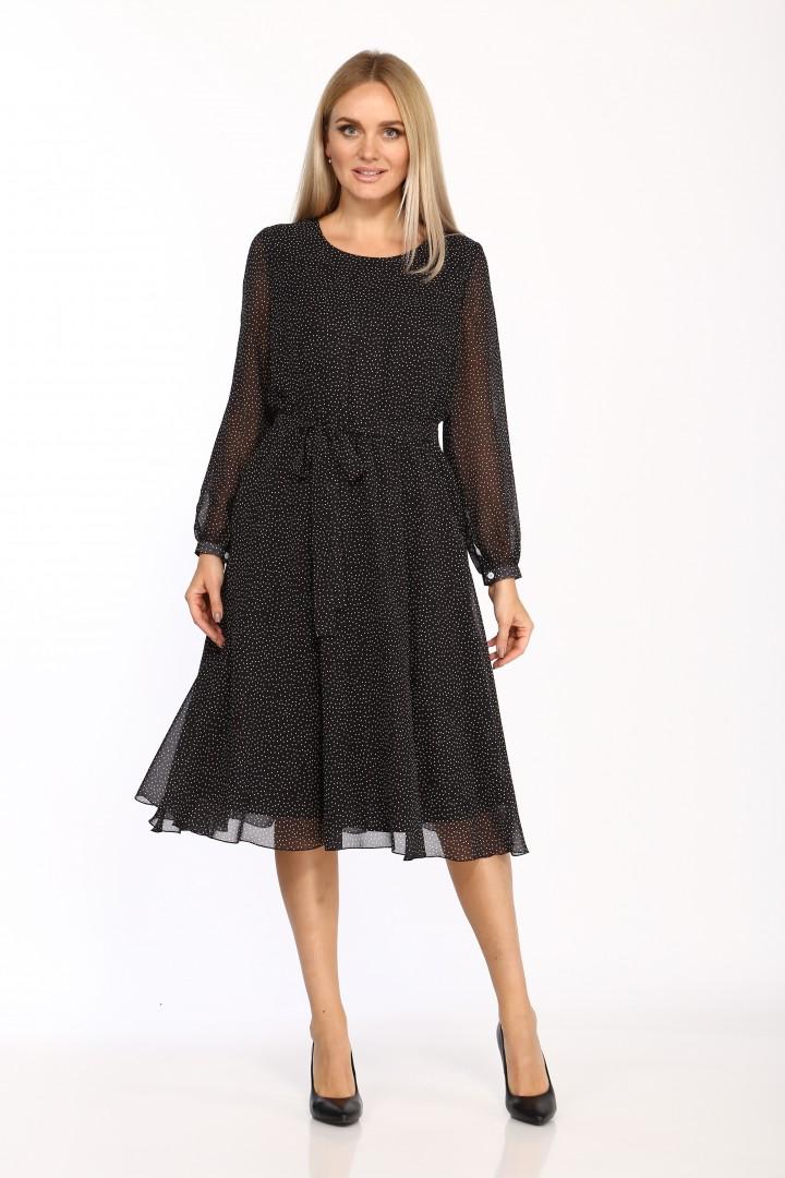 Платье Данаида 2068 чёрный в белый горошек