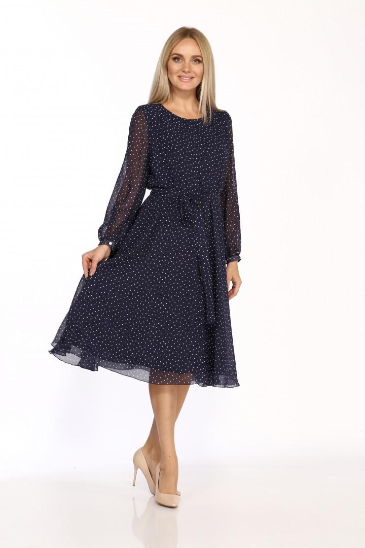 Платье Данаида 2068 синий в белый горошек