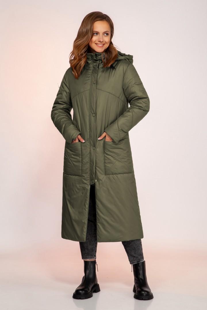Пальто DilanaVIP 1750 олива