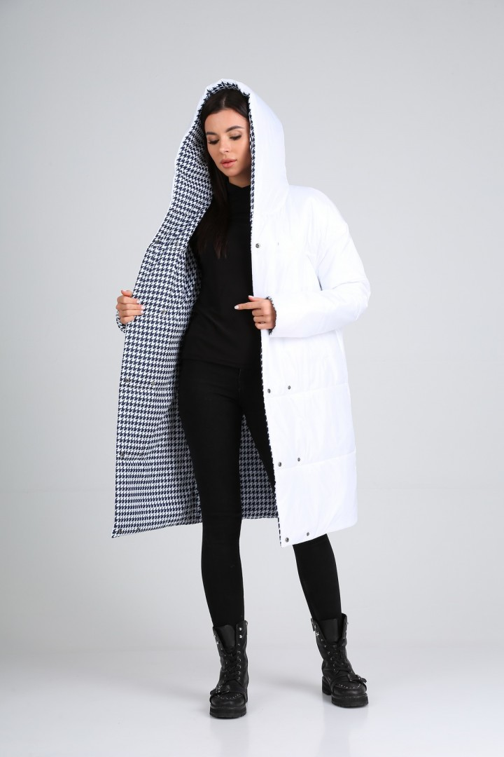 Пальто Diomant 1638 белый/гусиная лапка