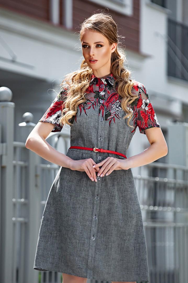 Платье Дива 1317 серый