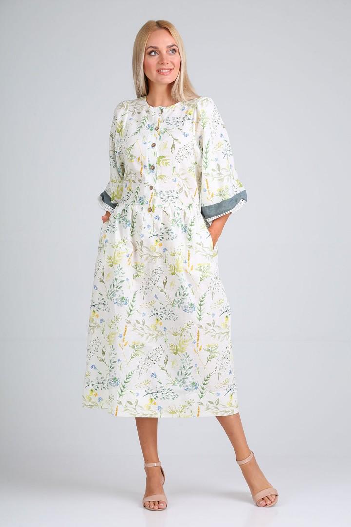 Платье FloVia 4096 молочный принт