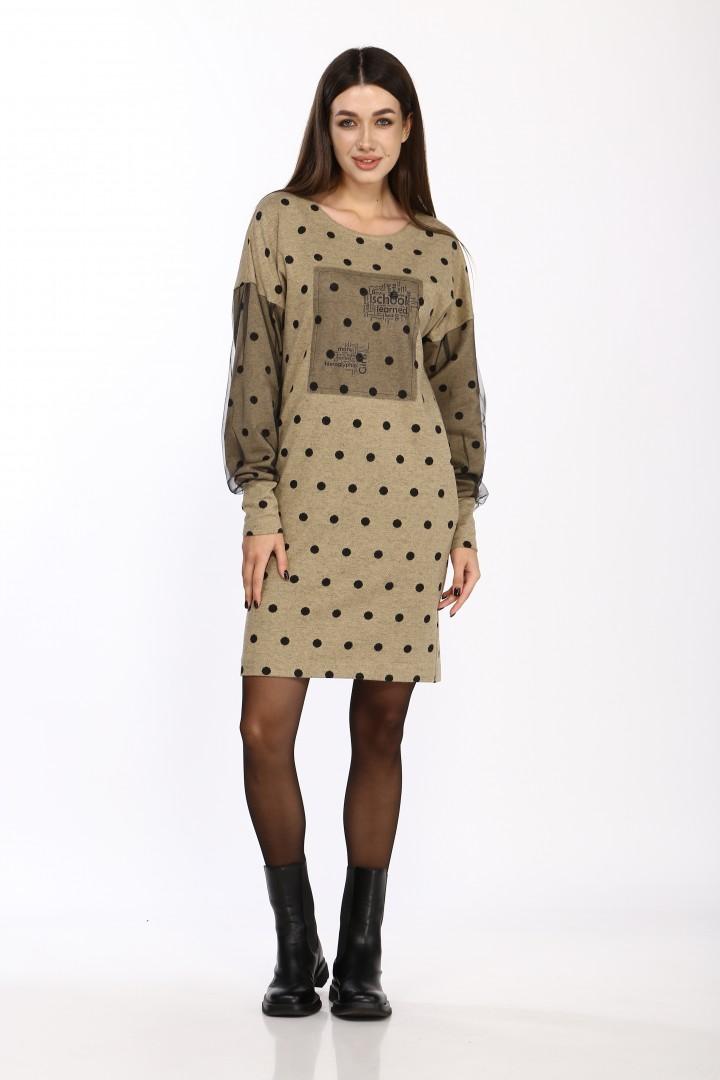Платье Карина Делюкс М-9953 бежевый горох
