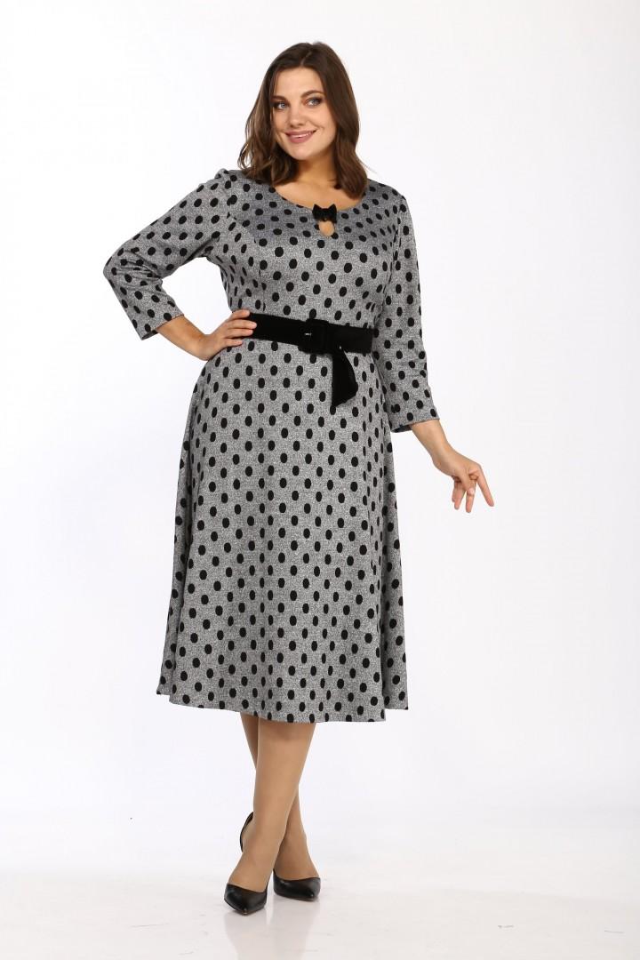 Платье Карина Делюкс М-9956 серый горошек