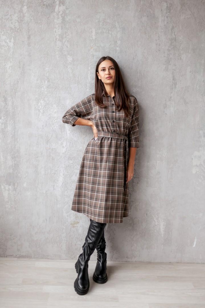 Платье KRASA 154-21 коричневая клетка