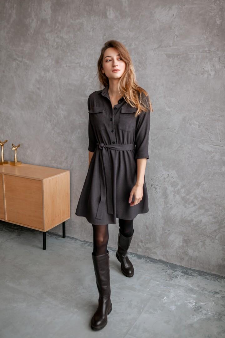 Платье KRASA 154-21 мини коричневая мелкая клетка