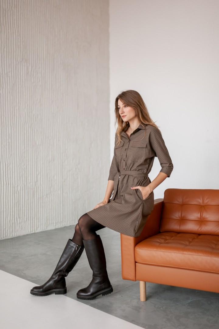 Платье KRASA 154-21 мини коричнево-песочная мелкая клетка