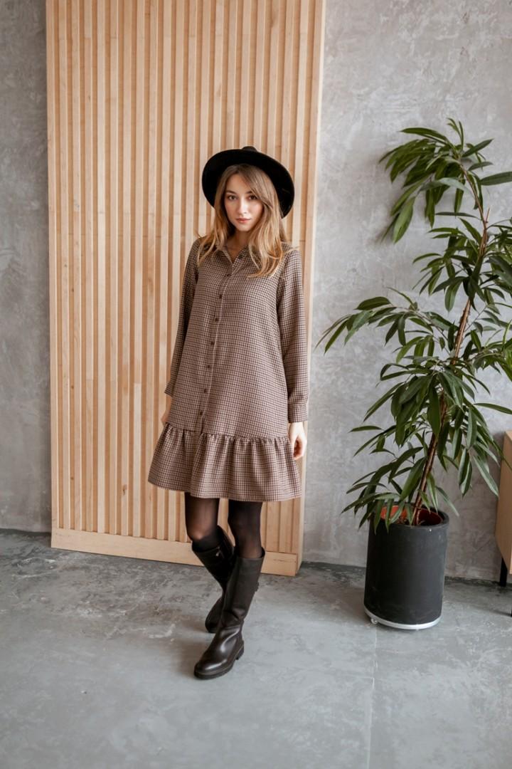 Платье KRASA 277-21 коричневая гусиная лапка