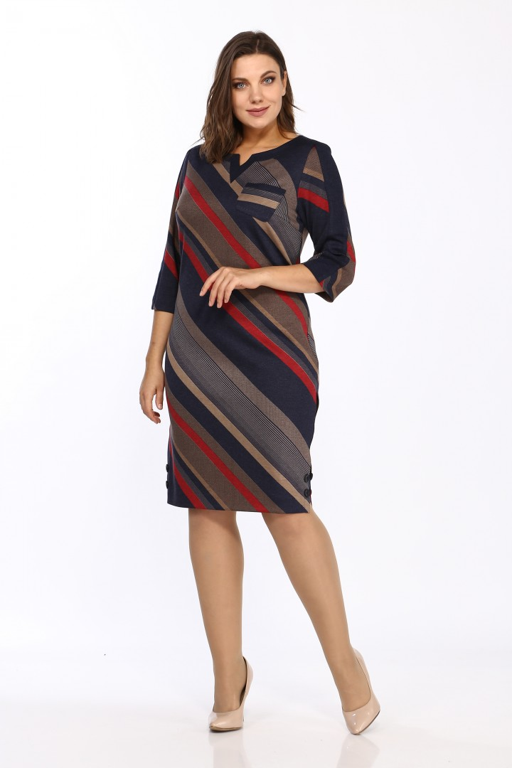 Платье LadyStyleClassic 1123/7 Темно-синий с красным Диагональ