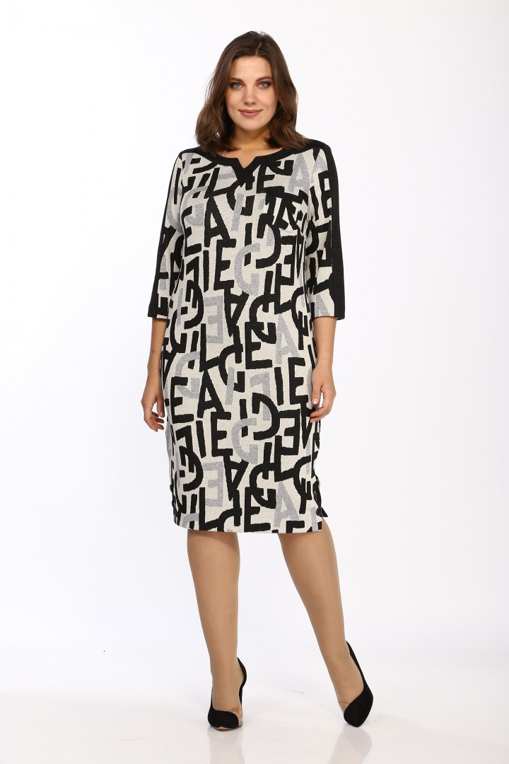 Платье LadyStyleClassic 1123/8 Черный с бежевым Буквы