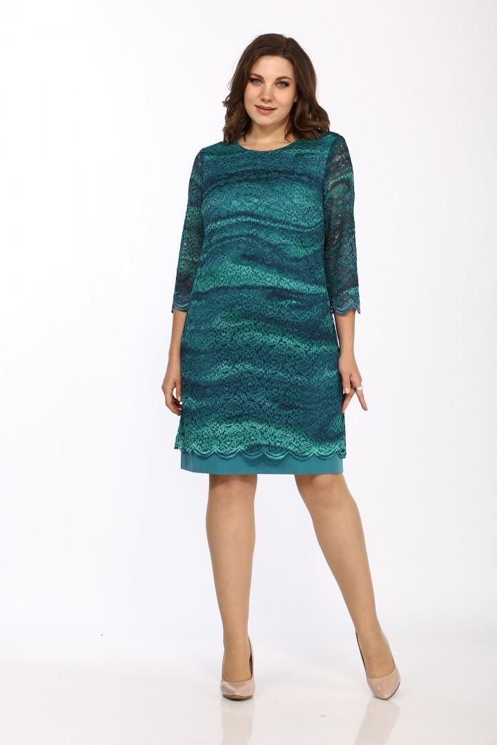 Платье LadyStyleClassic 1493/6 Бирюзовые тона