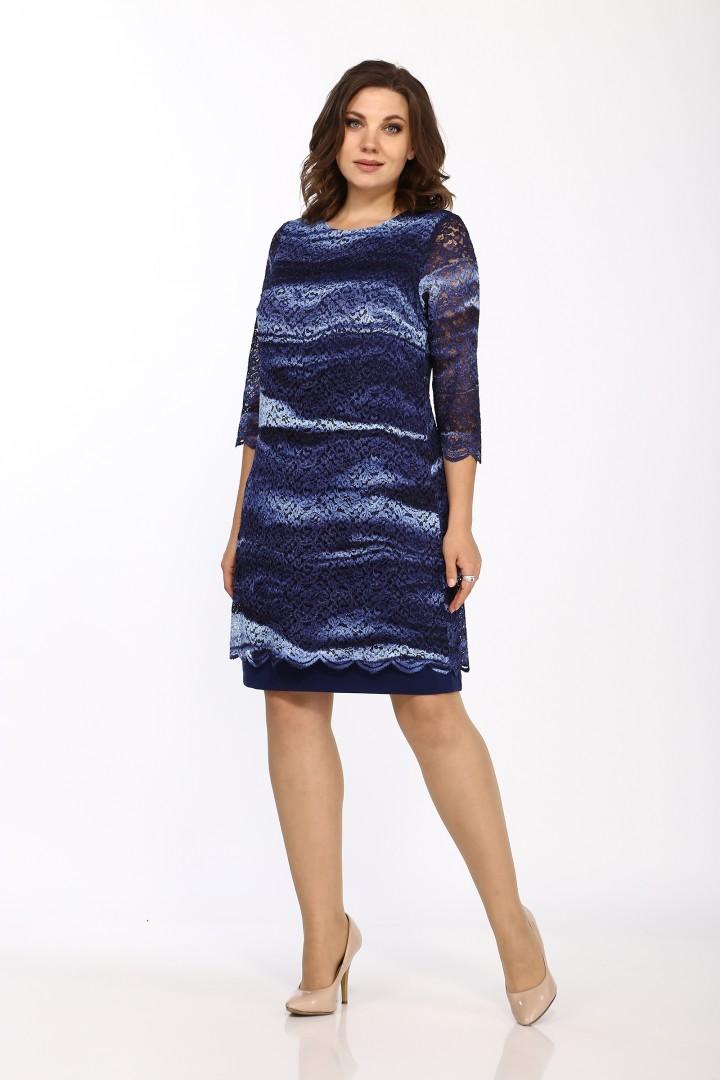 Платье LadyStyleClassic 1493/7 Синие тона