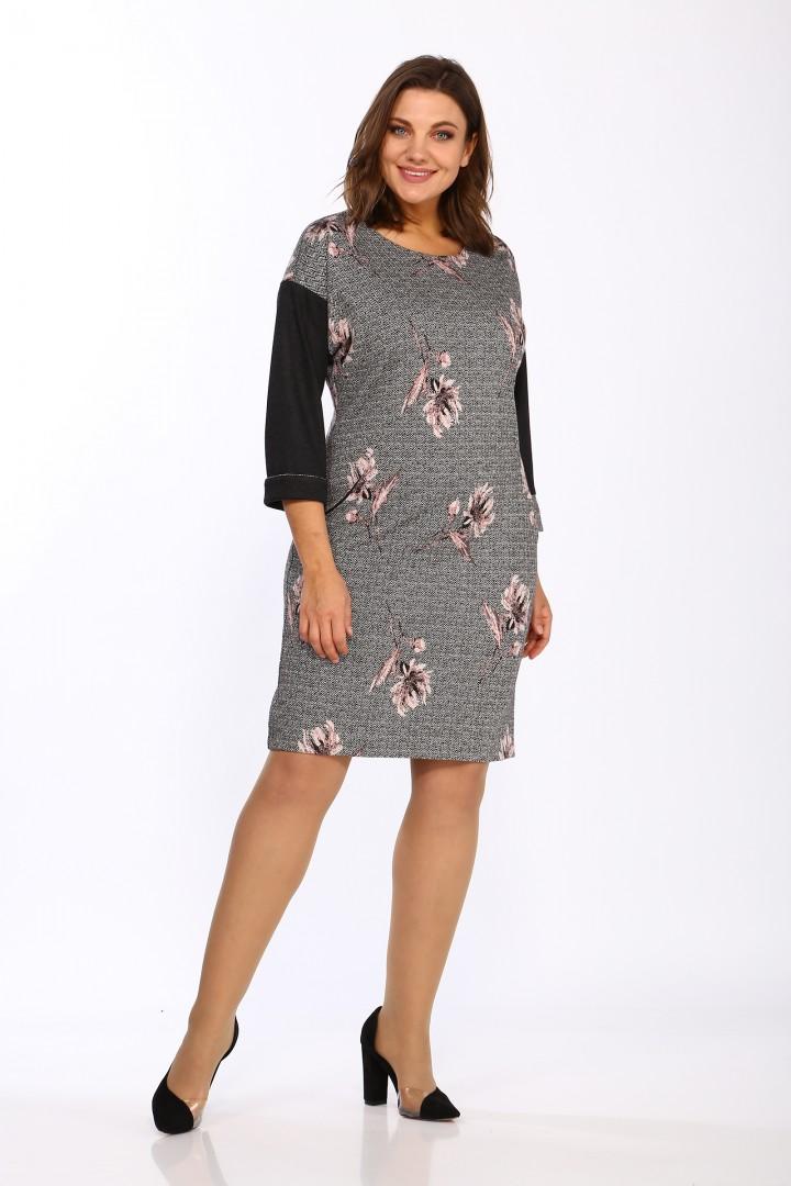 Платье LadyStyleClassic 1643/1 Серый с розовым Цветы