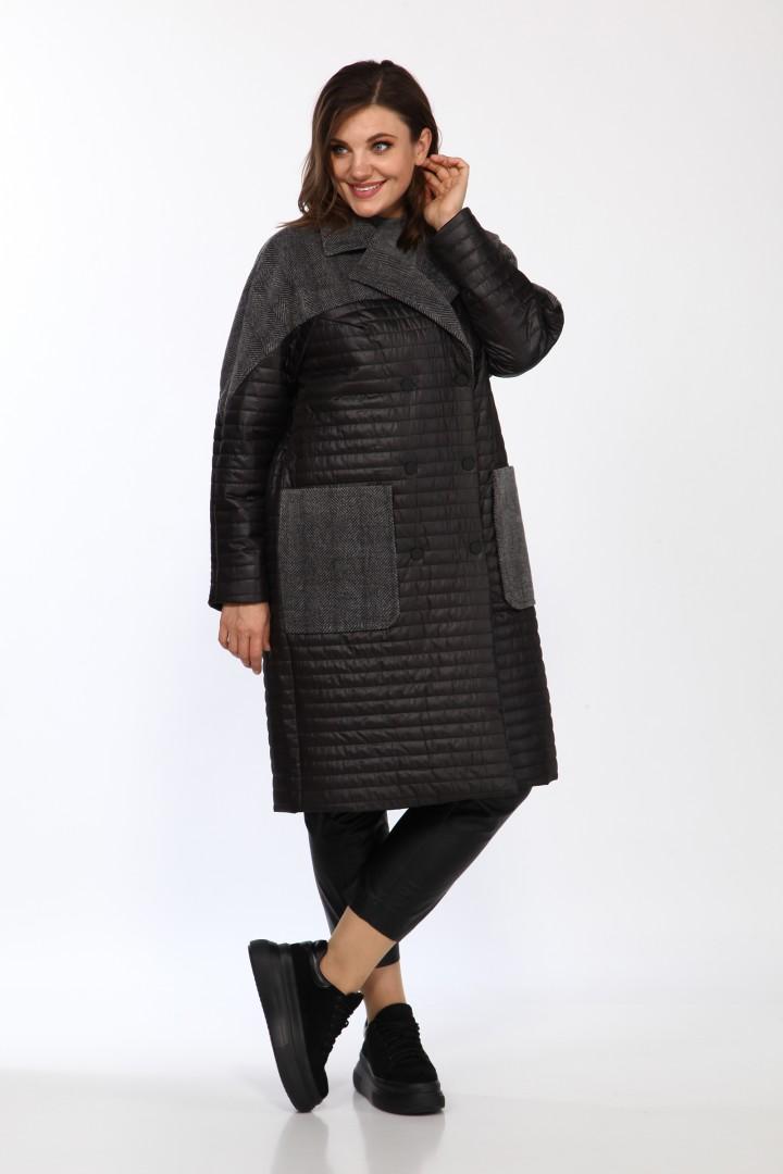 Пальто LadyStyleClassic 2327 чёрный с серым