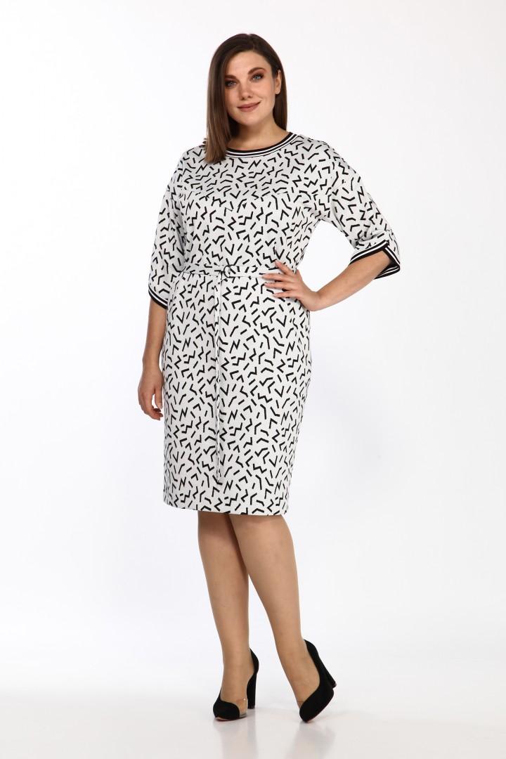 Платье LadyStyleClassic 2434/1 молочный с черным