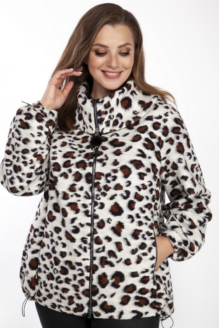 Полупальто LaKona 1410 серый леопард