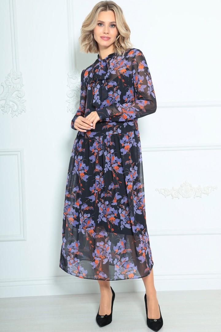 Платье LeNata 11235 черное в цветы