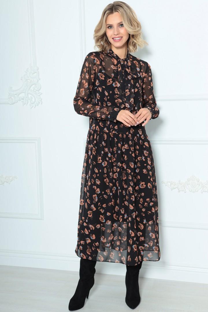 Платье LeNata 11235 черное в рисунок