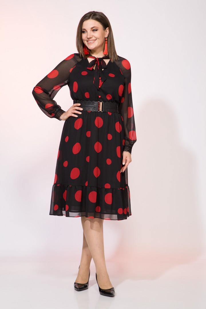 Платье Лилиана 1015 черный+красный