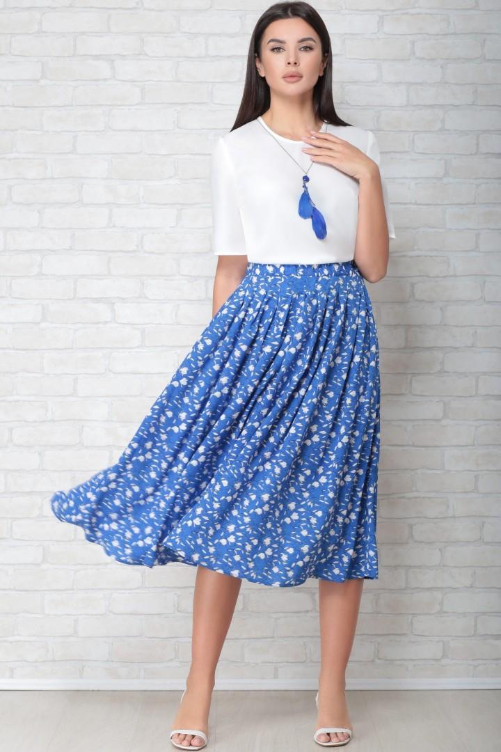 Юбка LIMO 10059 синий в цветочек