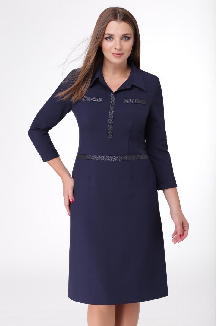 Платье Линия Л 1672 темно-синий