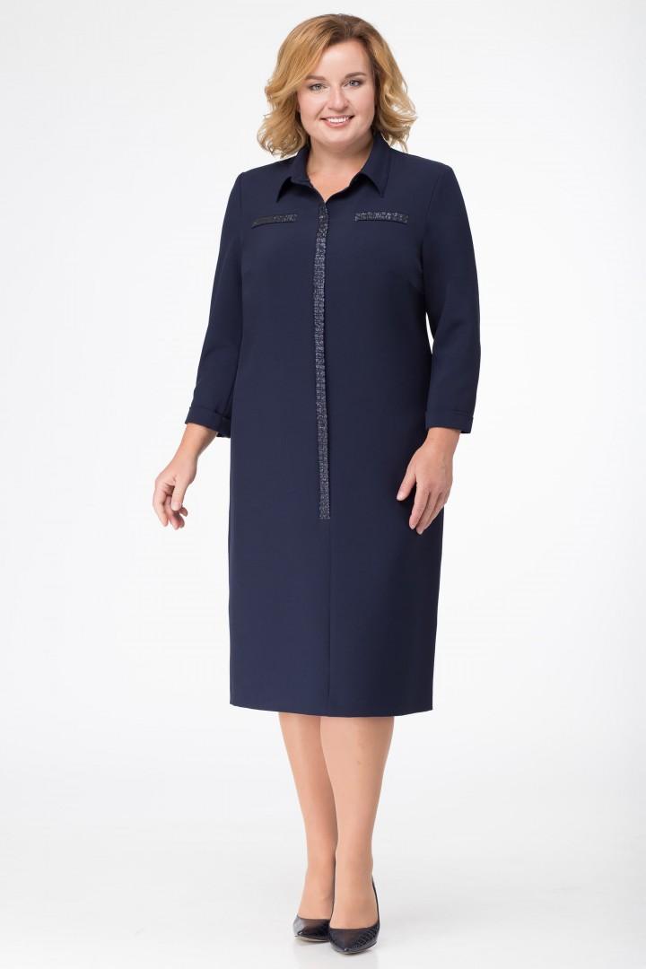 Платье Линия Л 1674 темно-синий