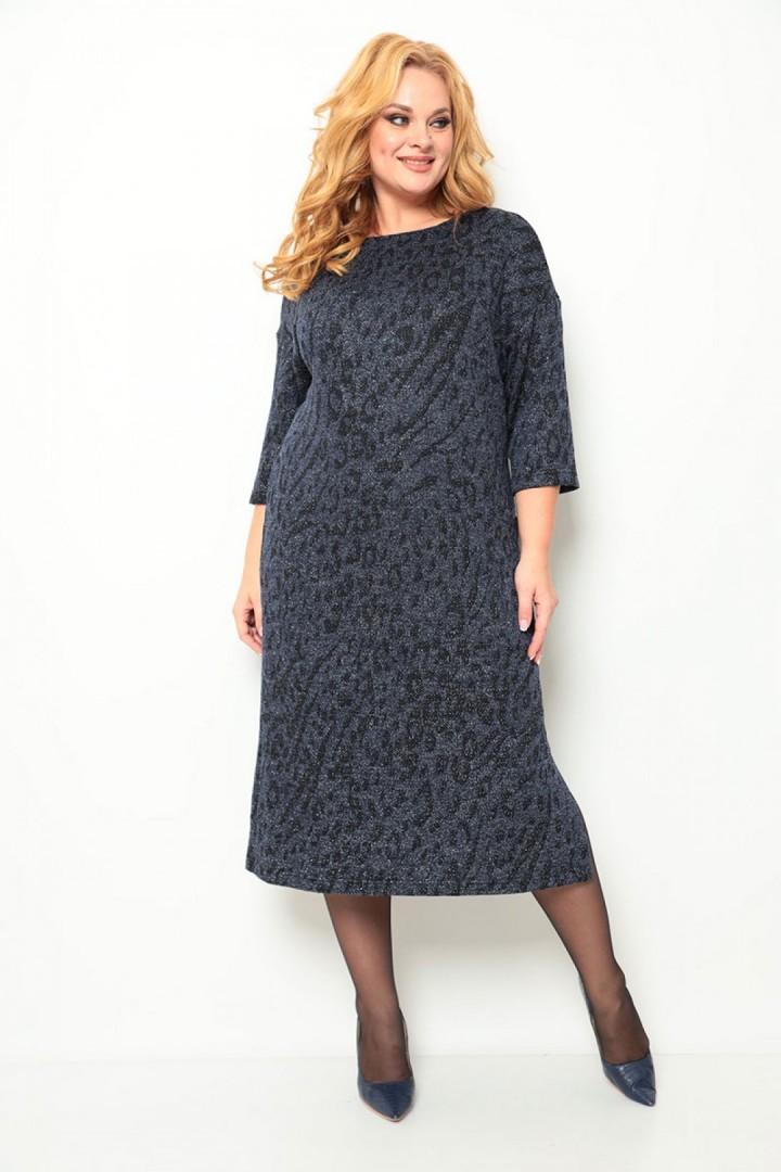 Платье Мишель Шик 2069 синий + принт