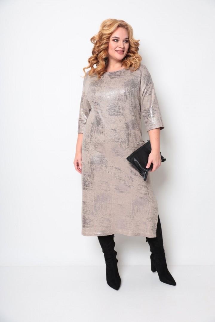 Платье Мишель Шик 2074 бежевый, бронза