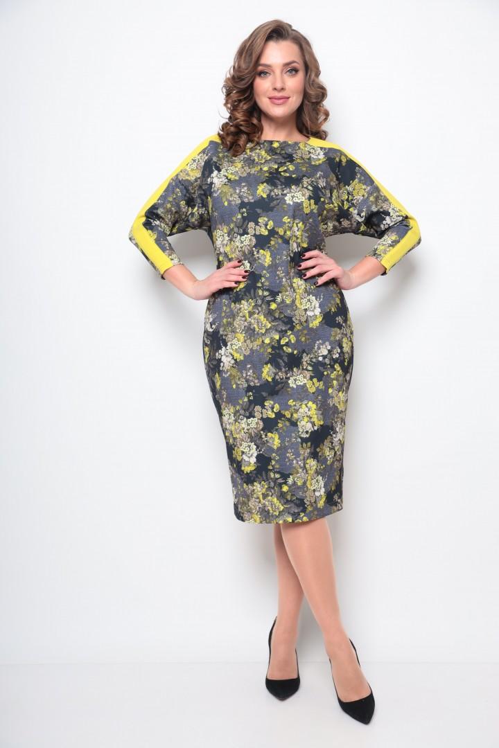 Платье Мишель Шик 2077 серый, желтый