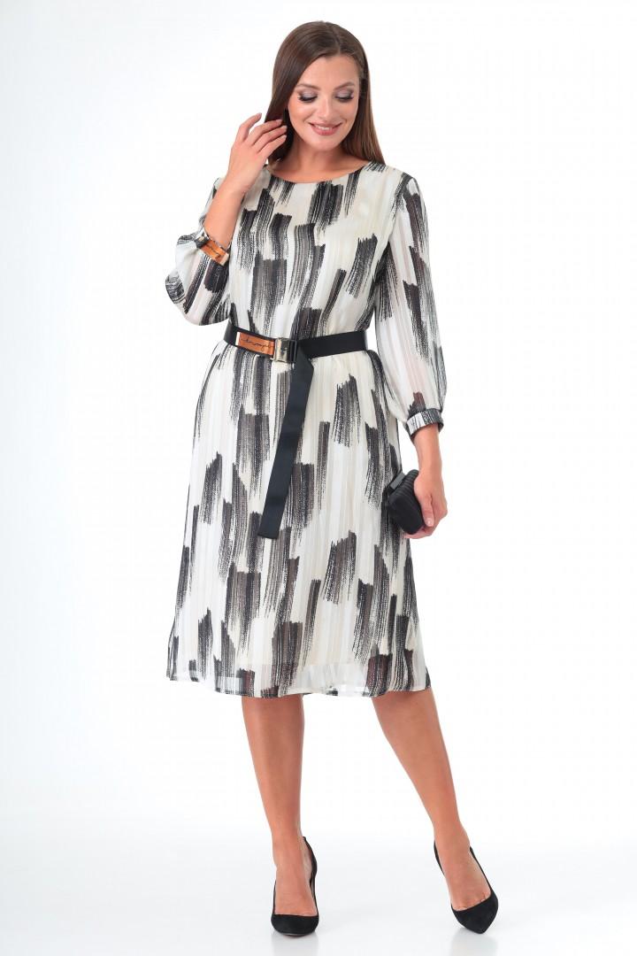 Платье МишельСтиль 995 бело-черный