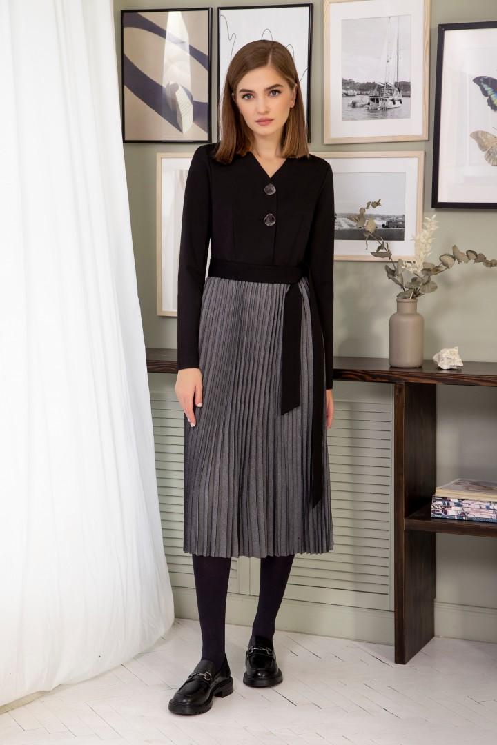 Платье ОЛЕГРАН В-03 черный+графит