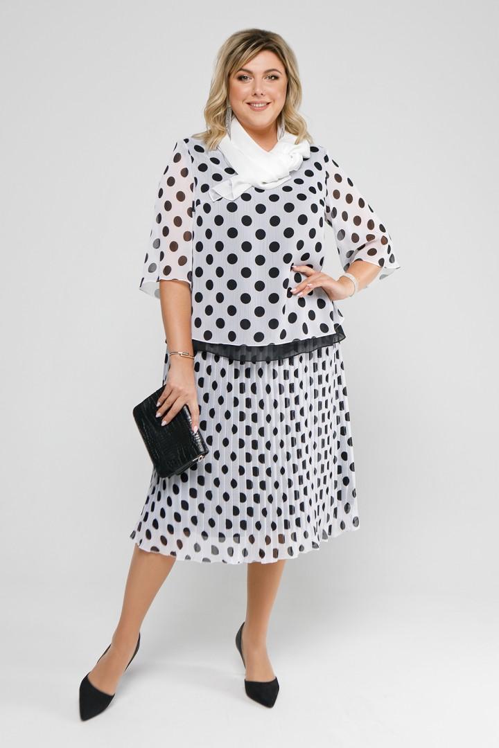 Платье Pretty 1978 белый+черные горохи