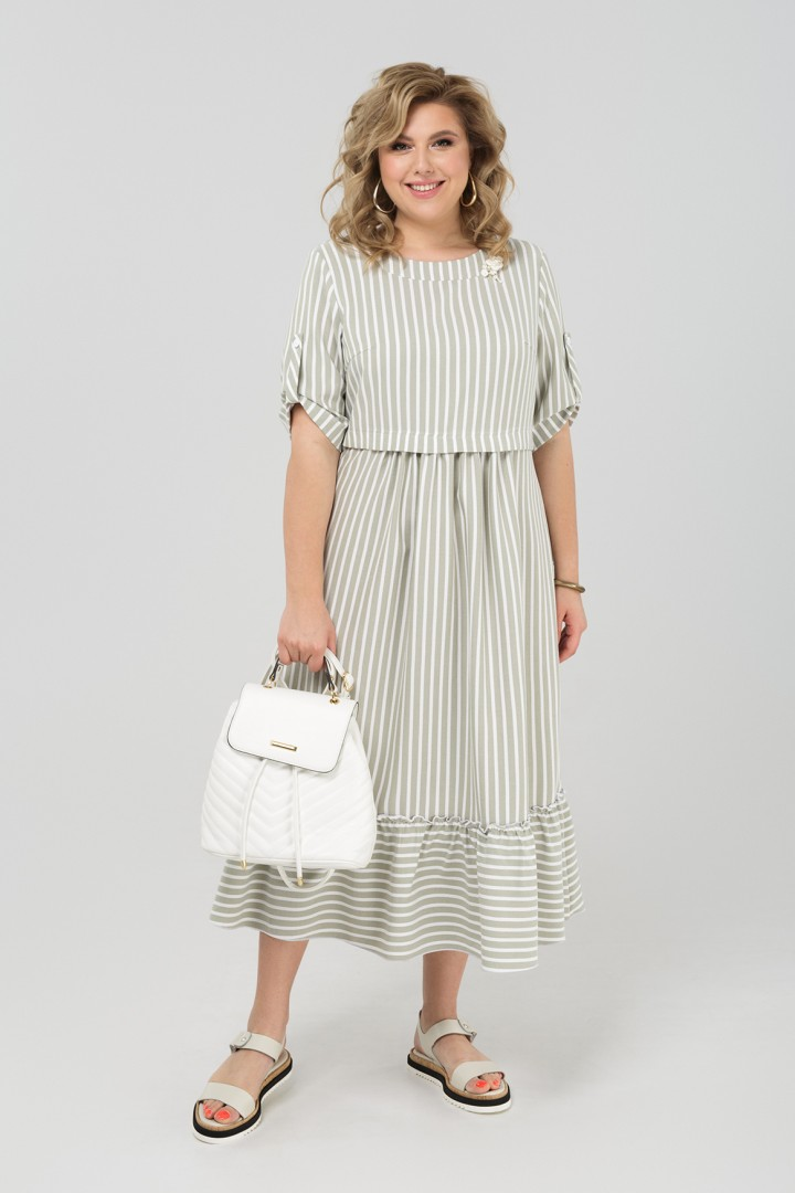 Платье Pretty 1981 хаки+белый