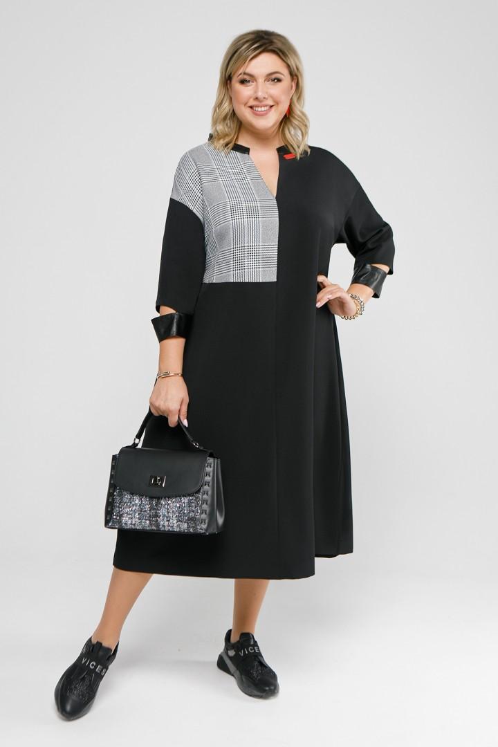 Платье Pretty 2042 черный и черно-белая клетка
