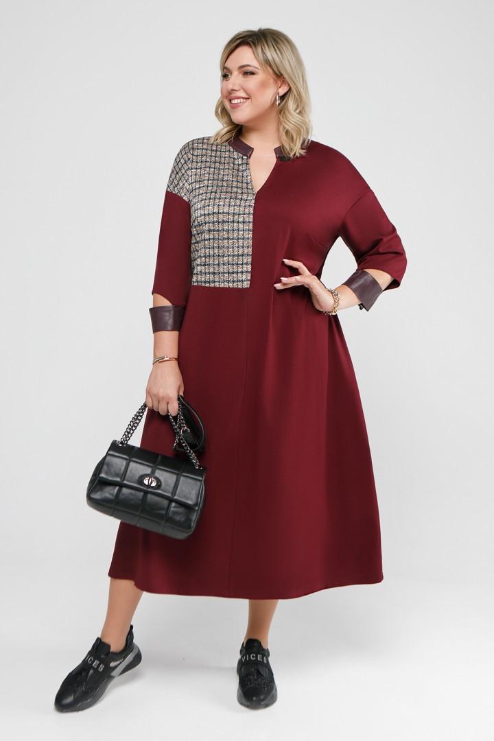 Платье Pretty 2053 бордовый и горчично-бордовая клетка