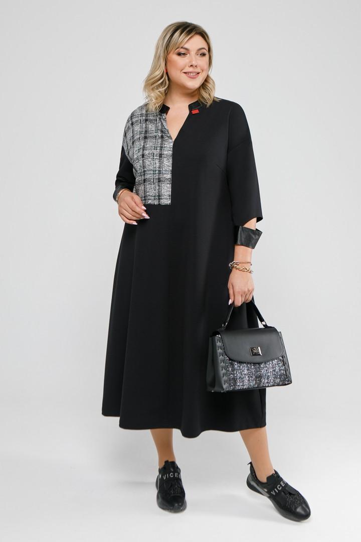 Платье Pretty 2053 черный и черно-бело-изумрудная клетка