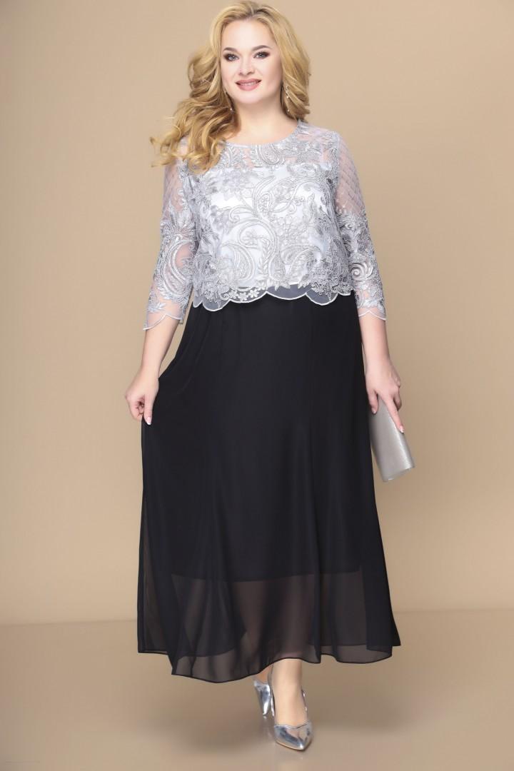 Платье Romanovich Style 1-1789 серебро+черный