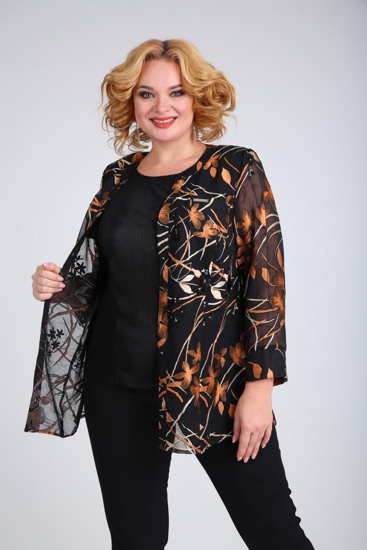 Блузка SOVITA 462 черный с рыжим