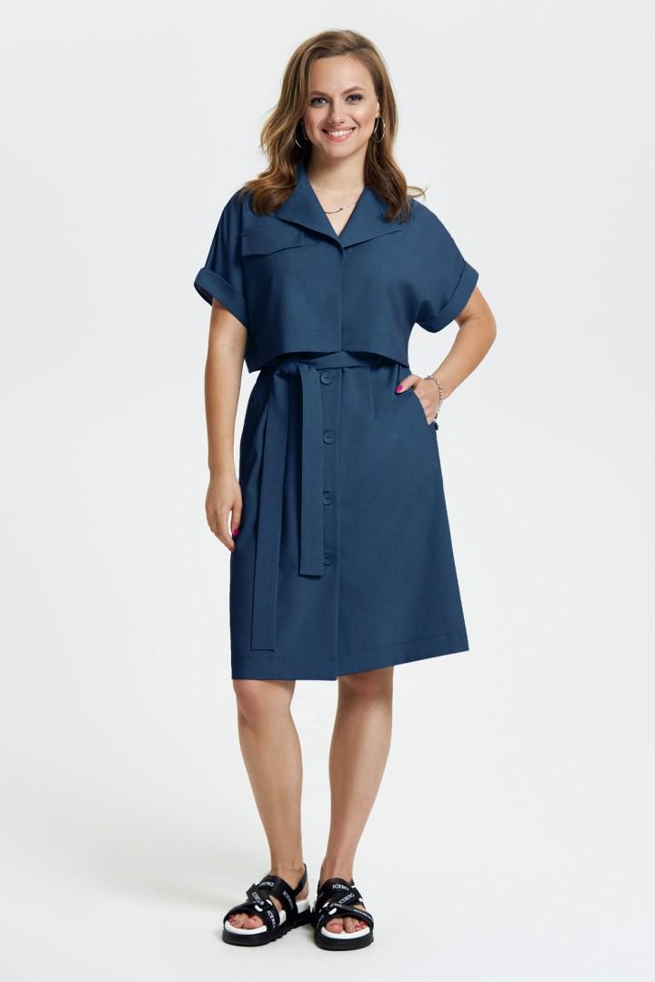 Платье TEZA 2665 темно-синий